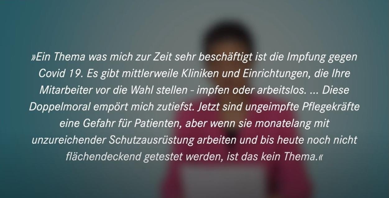 Aus dem Posteingang von Dr. Sahra Wagenknecht (MdB) - Team Sahra 14.01.2021 - Mehr Anerkennung statt Impfzwang für Pflegekräfte - Zitate aus Zuschriften an Dr. Sahra Wagenknecht  - Abschnitt 7