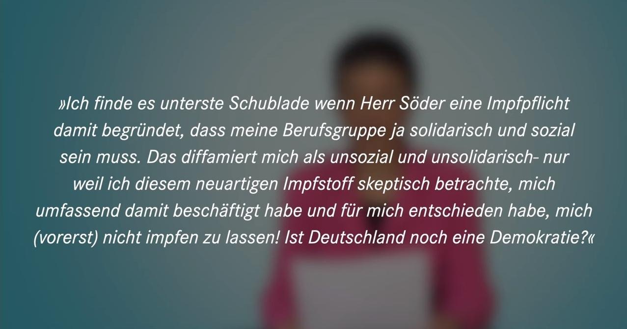 Aus dem Posteingang von Dr. Sahra Wagenknecht (MdB) - Team Sahra 14.01.2021 - Mehr Anerkennung statt Impfzwang für Pflegekräfte - Zitate aus Zuschriften an Dr. Sahra Wagenknecht  - Abschnitt 8