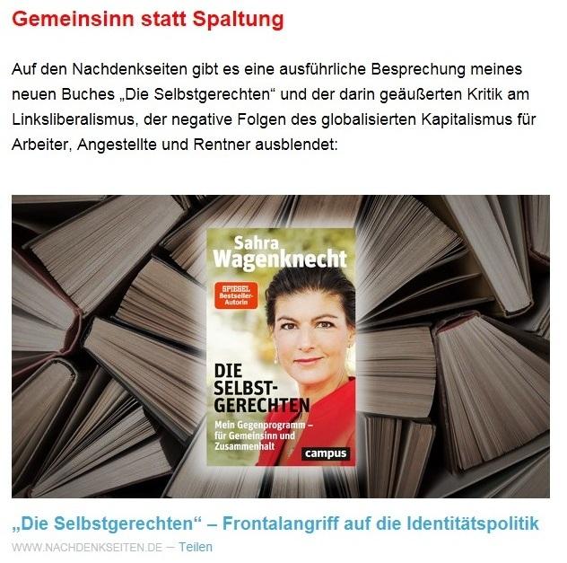 Aus dem Posteingang von Dr. Sahra Wagenknecht (MdB) - Team Sahra 15.04.2021 - Die Selbstgerechten - Anstoß zu einer nötigen Debatte - Abschnitt 7