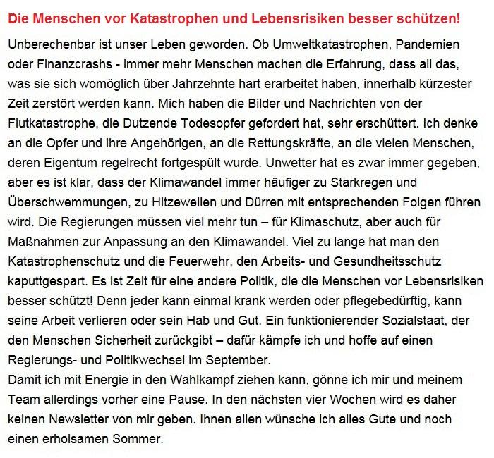 Aus dem Posteingang von Dr. Sahra Wagenknecht (MdB) - Team Sahra 15.07.2021 - Die Menschen vor Katastrophen und Lebensrisiken besser schützen! - Abschnitt 1 - Link: https://www.sahra-wagenknecht.de/