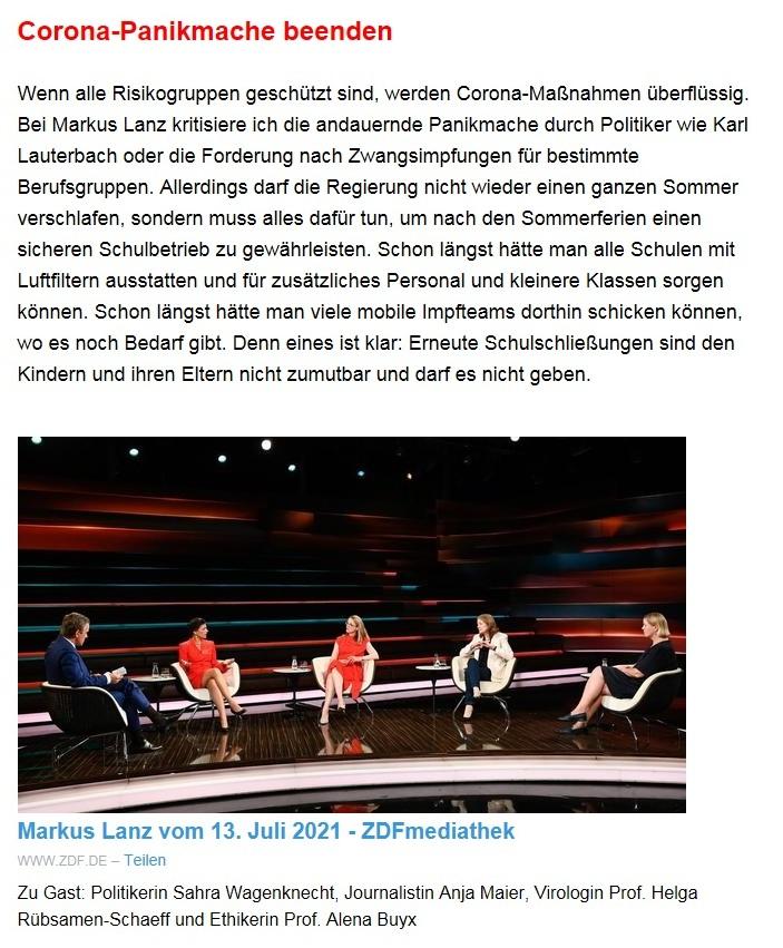 Aus dem Posteingang von Dr. Sahra Wagenknecht (MdB) - Team Sahra 15.07.2021 - Die Menschen vor Katastrophen und Lebensrisiken besser schützen! - Abschnitt 2 - Link: https://www.zdf.de/gesellschaft/markus-lanz/markus-lanz-vom-13-juli-2021-100.html?utm_campaign=Sahra%20Wagenknecht&utm_medium=email&utm_source=Revue%20newsletter