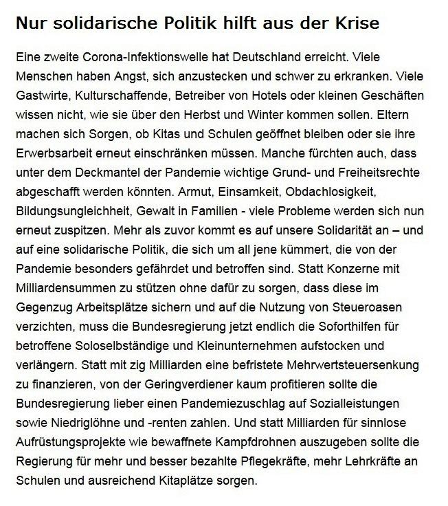 Aus dem Posteingang von Dr. Sahra Wagenknecht (MdB) - Team Sahra 15.10.2020 - Nur solidarische Politik hilft aus der Krise - Abschnitt 1