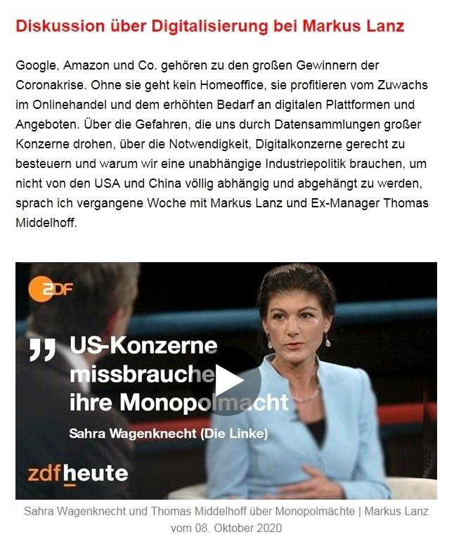 Aus dem Posteingang von Dr. Sahra Wagenknecht (MdB) - Team Sahra 15.10.2020 - Nur solidarische Politik hilft aus der Krise - Abschnitt 2