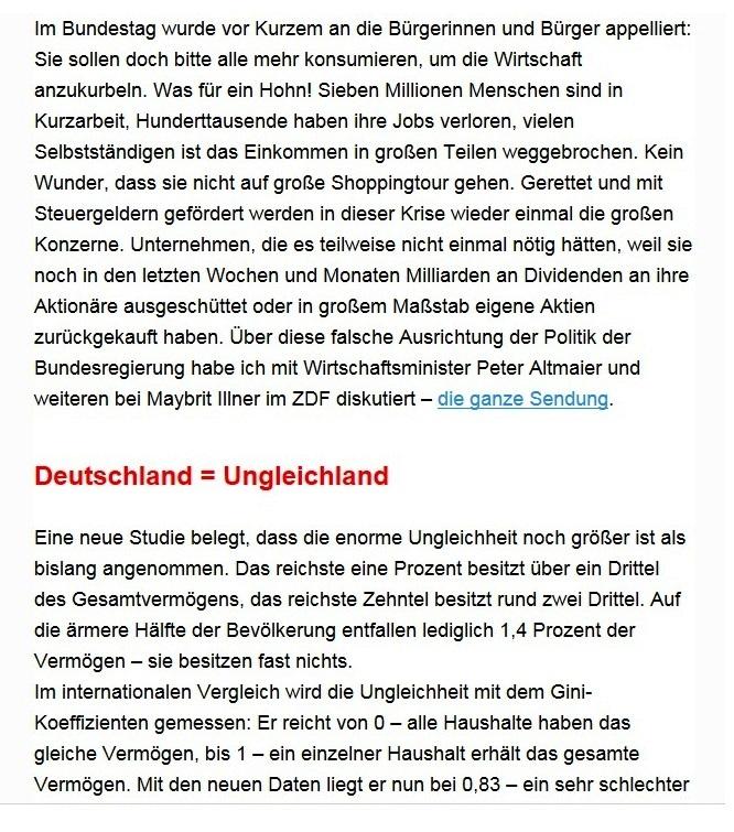 Aus dem Posteingang von Dr. Sahra Wagenknecht (MdB) - Team Sahra 16.07.2020 - Deutschland = Ungleichland