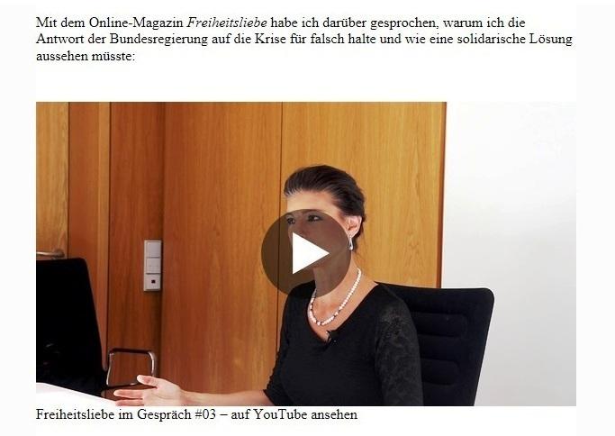 Aus dem Posteingang von Dr. Sahra Wagenknecht (MdB) - Team Sahra 16.07.2020 - Deutschland = Ungleichland - Mit dem Online-Magazin Freiheitsliebe sprach Dr. Sahra Wagenknecht darüber, warum sie die Antwort der Bundesregierung auf die Krise für falsch hält und wie eine solidarische Lösung aussehen müsste.