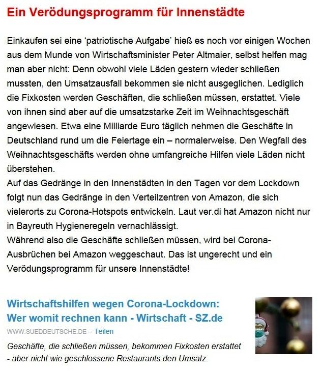 Aus dem Posteingang von Dr. Sahra Wagenknecht (MdB) - Team Sahra 17.12.2020 - Frohe Weihnachten und ein gesundes neues Jahr! - Abschnitt 5