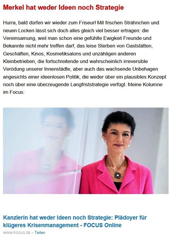 Aus dem Posteingang von Dr. Sahra Wagenknecht (MdB) - Team Sahra 18.02.2021 - Versprochen? Gebrochen. Ein Jahr Corona-Politik der GroKo - Abschnitt 2 von 6 Abschnitten