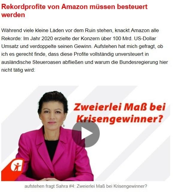 Aus dem Posteingang von Dr. Sahra Wagenknecht (MdB) - Team Sahra 18.02.2021 - Versprochen? Gebrochen. Ein Jahr Corona-Politik der GroKo - Abschnitt 4 von 6 Abschnitten