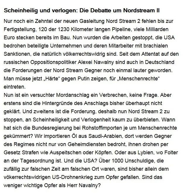 Aus dem Posteingang von Dr. Sahra Wagenknecht (MdB) - Team Sahra 18.09.2020 - Scheinheilig und verlogen: Die Debatte um Nordstream II - Abschnitt 1