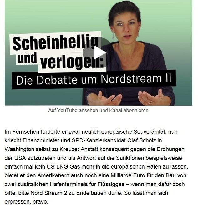 Aus dem Posteingang von Dr. Sahra Wagenknecht (MdB) - Team Sahra 18.09.2020 - Scheinheilig und verlogen: Die Debatte um Nordstream II - Abschnitt 3