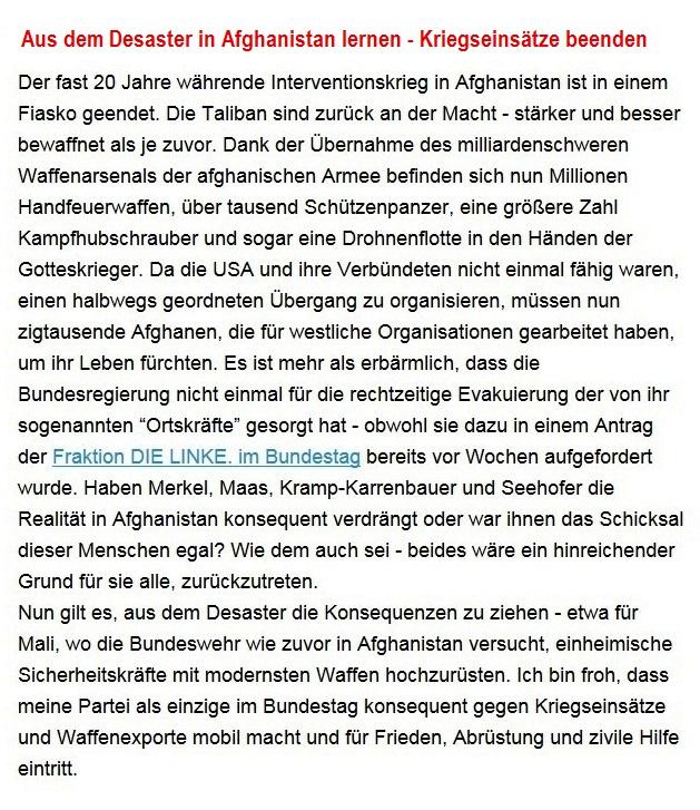 Aus dem Posteingang von Dr. Sahra Wagenknecht (MdB) - Team Sahra 19.08.2021 - Aus dem Desaster in Afghanistan lernen - Kriegseinsätze beenden - Abschnitt 1