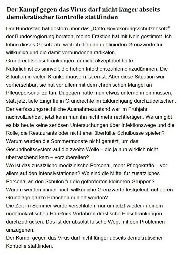 Aus dem Posteingang von Dr. Sahra Wagenknecht (MdB) - Team Sahra 19.11.2020 - Der Kampf gegen das Virus darf nicht länger abseits demokratischer Kontrolle stattfinden - Abschnitt 1