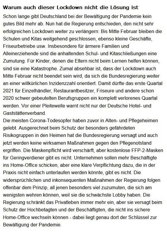 Aus dem Posteingang von Dr. Sahra Wagenknecht (MdB) - Team Sahra 21.01.2021 - Warum auch dieser Lockdown nicht die Lösung ist - Abschnitt 1