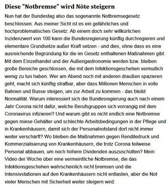Aus dem Posteingang von Dr. Sahra Wagenknecht (MdB) - Team Sahra 22.04.2021 - Diese 'Notbremse' wird Nöte steigern - Abschnitt 1