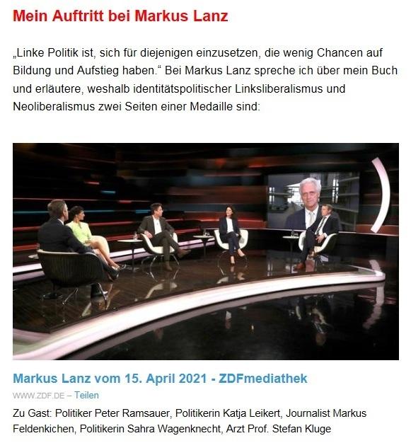 Aus dem Posteingang von Dr. Sahra Wagenknecht (MdB) - Team Sahra 22.04.2021 - Diese 'Notbremse' wird Nöte steigern - Abschnitt 3 - Link: https://www.zdf.de/gesellschaft/markus-lanz/markus-lanz-vom-15-april-2021-100.html