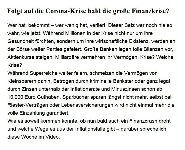 Aus dem Posteingang von Dr. Sahra Wagenknecht (MdB) - Team Sahra 22.10.2020 - Folgt auf die Corona-Krise bald die große Finanzkrise?