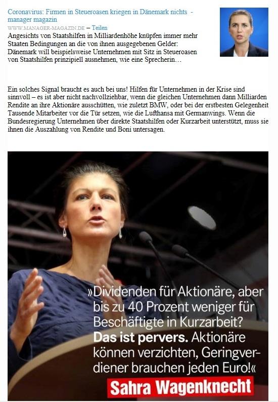 Aus dem Posteingang von Dr. Sahra Wagenknecht (MdB) - Team Sahra 23.04.2020 - Von Dänemark lernen: Keine Staatshilfen für Firmen mit Sitz in Steueroasen