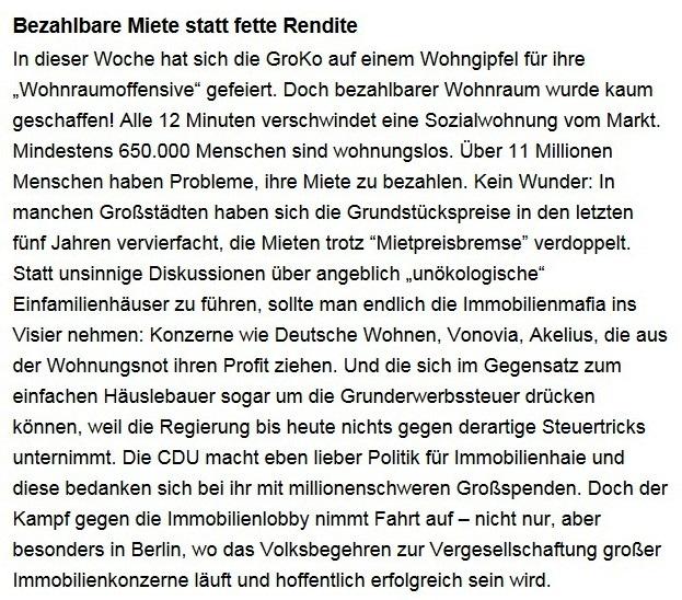 Aus dem Posteingang von Dr. Sahra Wagenknecht (MdB) - Team Sahra 25.02.2021 - Bezahlbare Miete statt fette Rendite - Abschnitt 1 von 7 Abschnitten
