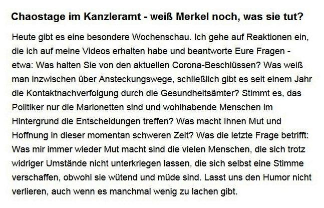 Aus dem Posteingang von Dr. Sahra Wagenknecht (MdB) - Team Sahra 25.03.2021 - Chaostage im Kanzleramt - weiß Merkel noch, was sie tut? - Abschnitt 1 von 6 Abschnitten
