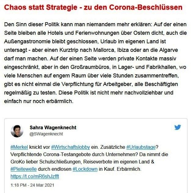 Aus dem Posteingang von Dr. Sahra Wagenknecht (MdB) - Team Sahra 25.03.2021 - Chaostage im Kanzleramt - weiß Merkel noch, was sie tut? - Abschnitt 3 von 6 Abschnitten