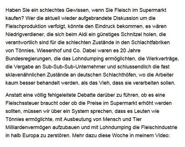 Aus dem Posteingang von Dr. Sahra Wagenknecht (MdB) - Team Sahra 25.06.2020 - Tönnies Schweinesystem und grüne Arroganz: Muss Fleisch teurer werden? | Bessere Zeiten – Wagenknechts Wochenschau