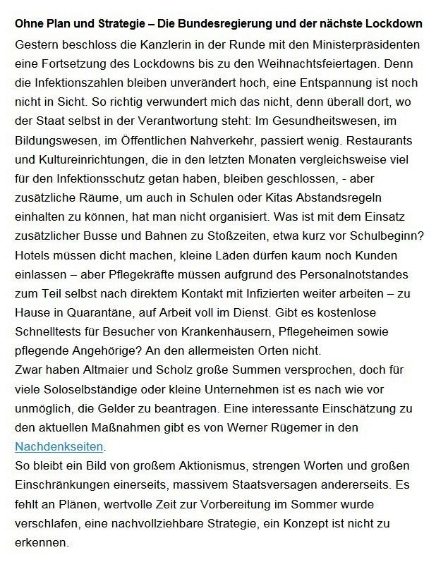 Aus dem Posteingang von Dr. Sahra Wagenknecht (MdB) - Team Sahra 26.11.2020 - Ohne Plan und Strategie – Die Bundesregierung und der nächste Lockdown - Abschnitt 1