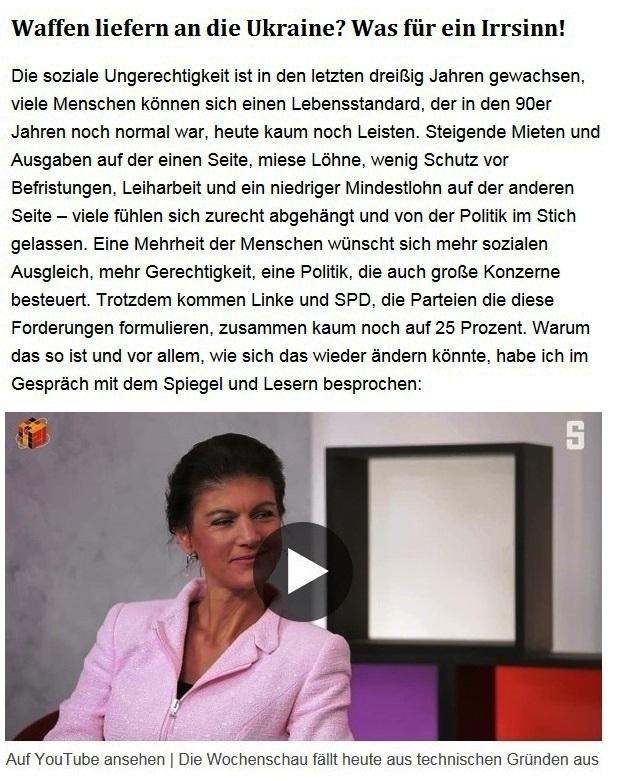 Aus dem Posteingang von Dr. Sahra Wagenknecht (MdB) - Team Sahra 27.05.2021 - Waffen liefern an die Ukraine? Was für ein Irrsinn! - Abschnitt 1 - Link: https://www.youtube.com/watch?v=m-2ya_y1JJg