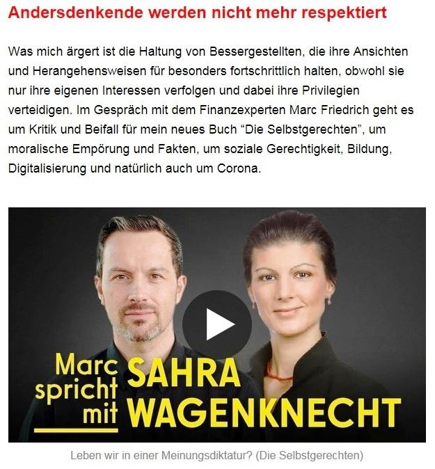 Aus dem Posteingang von Dr. Sahra Wagenknecht (MdB) - Team Sahra 27.05.2021 - Waffen liefern an die Ukraine? Was für ein Irrsinn! - Abschnitt 3 - Link: https://www.youtube.com/watch?v=iK71Iw26mzQ