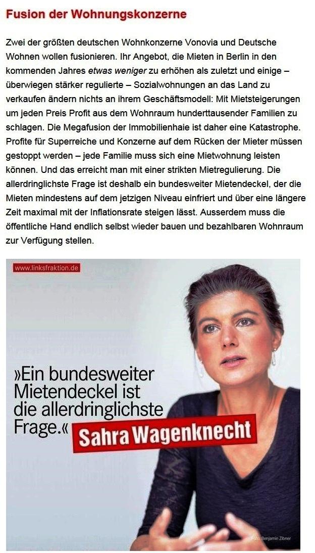 Aus dem Posteingang von Dr. Sahra Wagenknecht (MdB) - Team Sahra 27.05.2021 - Waffen liefern an die Ukraine? Was für ein Irrsinn! - Abschnitt 8 - Link: https://www.sahra-wagenknecht.de/