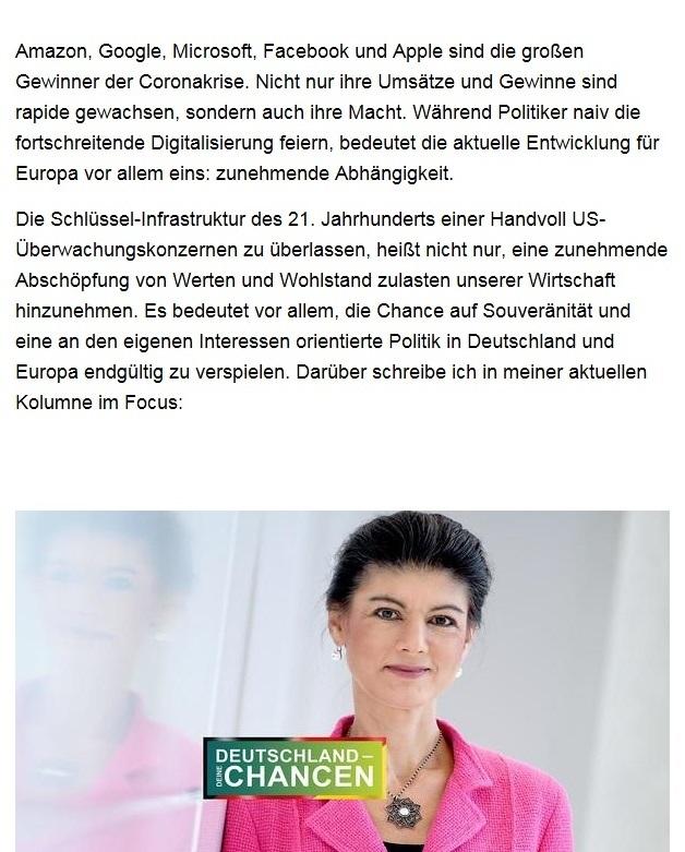 Aus dem Posteingang von Dr. Sahra Wagenknecht (MdB) - Team Sahra 27.08.2020