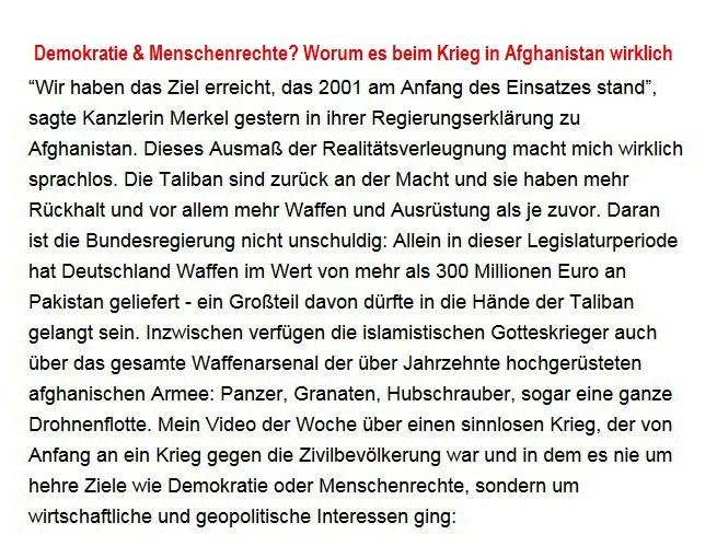 Aus dem Posteingang von Dr. Sahra Wagenknecht (MdB) - Team Sahra 27.08.2021 - Demokratie & Menschenrechte? Worum es beim Krieg in Afghanistan wirklich ging - Abschnitt 1