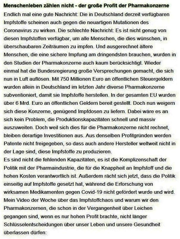 Aus dem Posteingang von Dr. Sahra Wagenknecht (MdB) - Team Sahra 28.01.2021 - Menschenleben zählen nicht - der große Profit der Pharmakonzerne - Abschnitt 1 von 8 Abschnitten