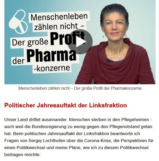 Aus dem Posteingang von Dr. Sahra Wagenknecht (MdB) - Team Sahra 28.01.2021 - Menschenleben zählen nicht - der große Profit der Pharmakonzerne - Abschnitt 2 von 8 Abschnitten