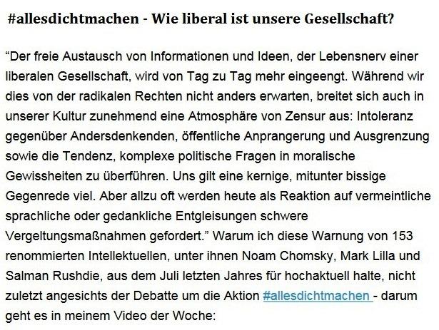 Aus dem Posteingang von Dr. Sahra Wagenknecht (MdB) - Team Sahra 29.04.2021 - #allesdichtmachen - Wie liberal ist unsere Gesellschaft? - Abschnitt 1