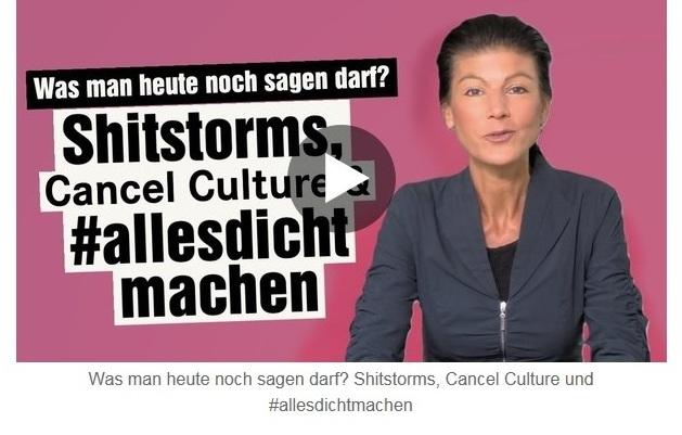 Aus dem Posteingang von Dr. Sahra Wagenknecht (MdB) - Team Sahra 29.04.2021 - #allesdichtmachen - Wie liberal ist unsere Gesellschaft? - Abschnitt 2
