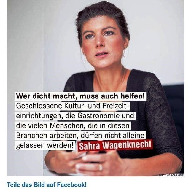 Aus dem Posteingang von Dr. Sahra Wagenknecht (MdB) - Team Sahra 29.10.2020 - Nächster Lockdown: Blinder Aktionismus hilft nicht