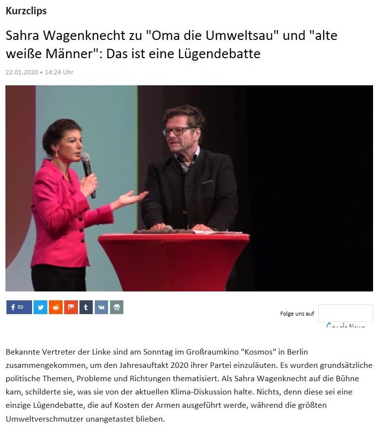 Kurzclips - Sahra Wagenknecht zu 'Oma die Umweltsau' und 'alte weiße Männer': Das ist eine Lügendebatte