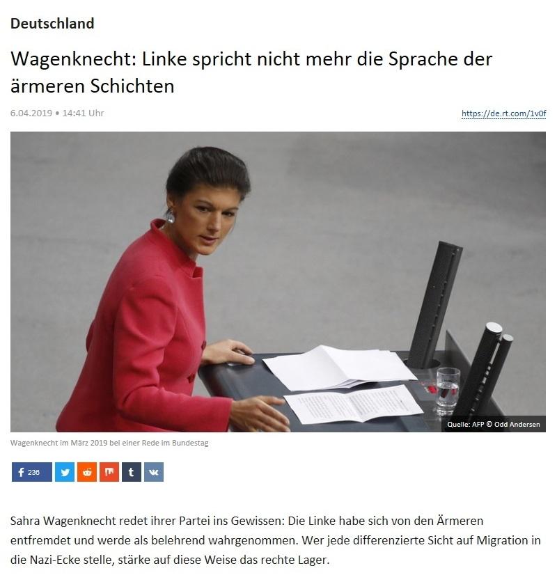 Deutschland - Wagenknecht: Linke spricht nicht mehr die Sprache der ärmeren Schichten