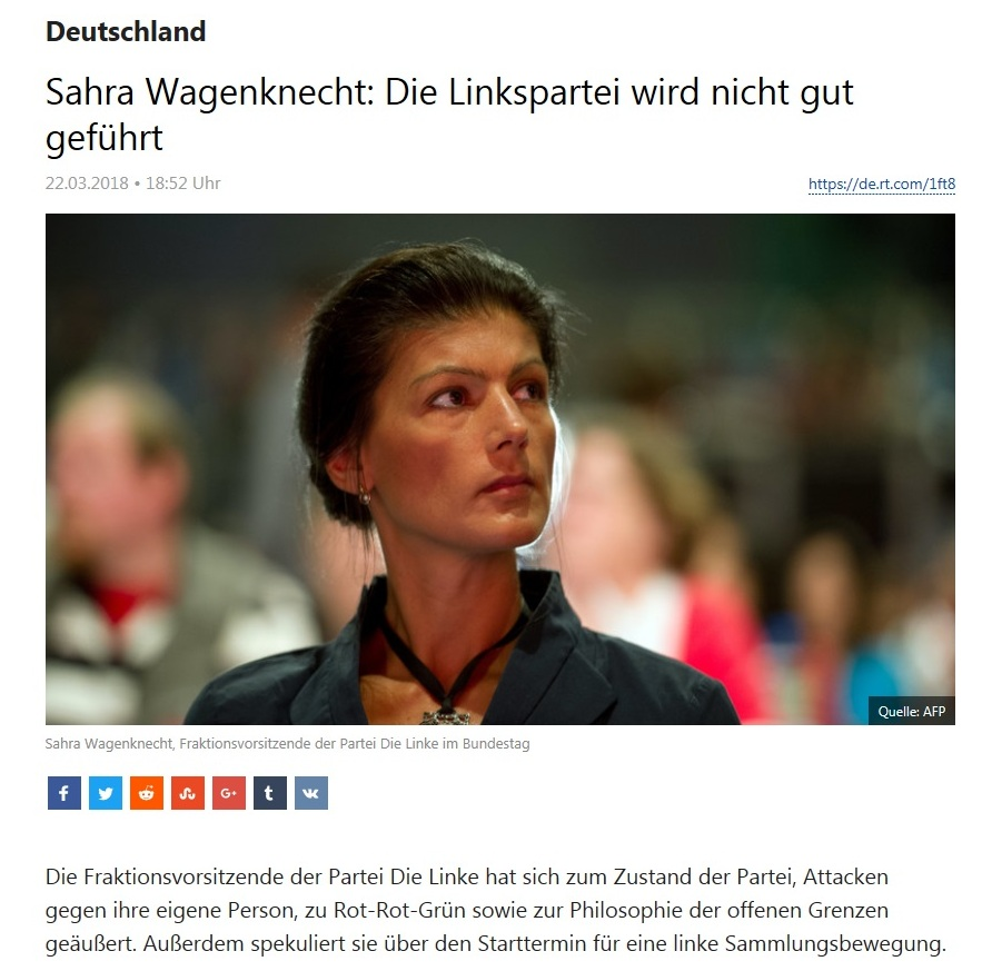 Deutschland - Sahra Wagenknecht: Die Linkspartei wird nicht gut geführt