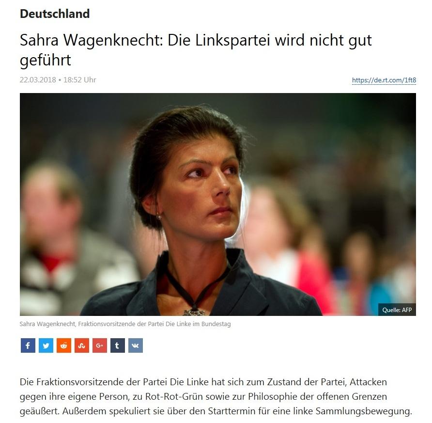 Deutschland - Sahra Wagenknecht: Die Linkspartei wird nicht gut geführt