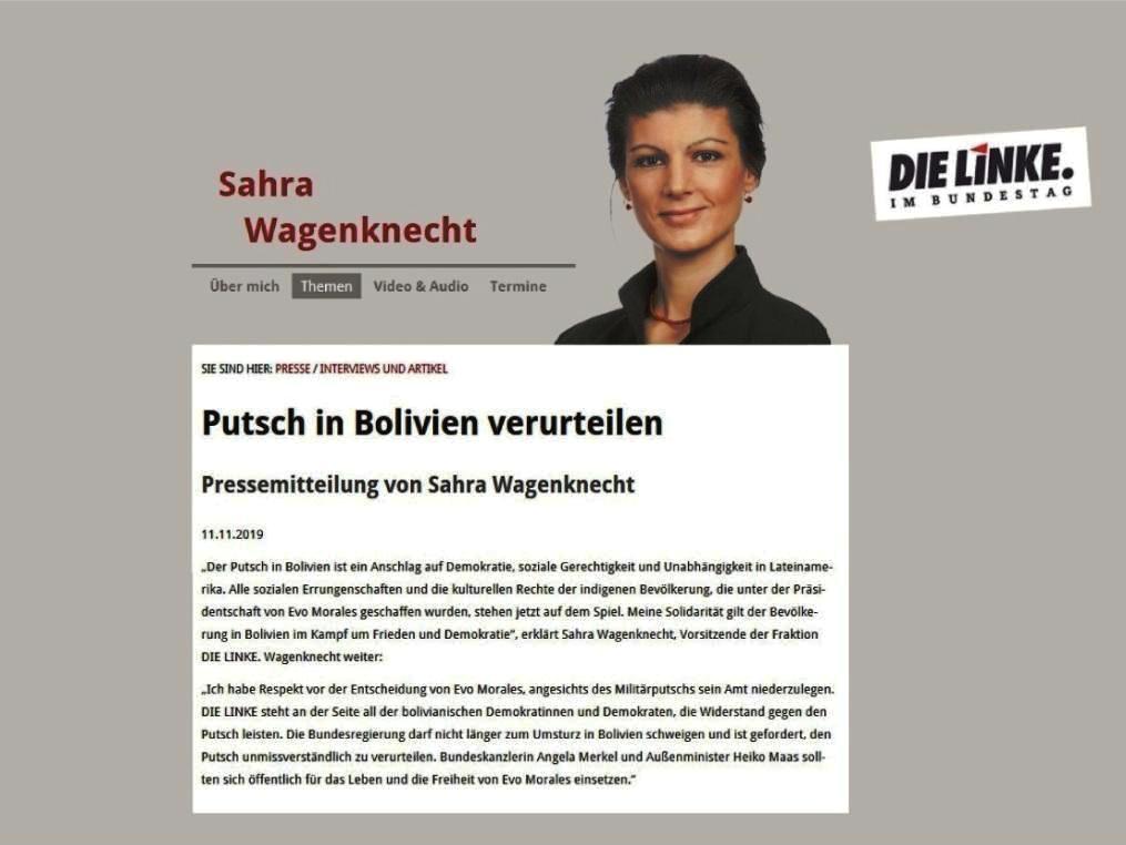 Putsch in Bolivien verurteilen - Pressemitteilung von Sahra Wagenknecht