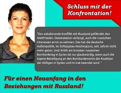 Dr. Sahra Wagenknecht, Mitglied des Deutschen Bundestages, Fraktion DIE LINKE: Schluss mit der Konfrontationspolitik! Gemeinsame Sicherheit verlangt Fortsetzung des Dialogs! Für einen Neuanfang in den Beziehungen mit Russland!