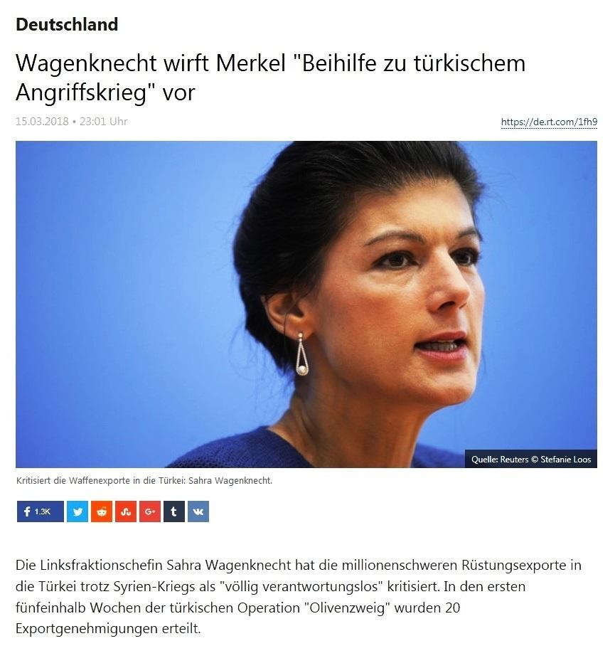 Deutschland - Sahra Wagenknecht wirft Merkel 'Beihilfe zu türkischem Angriffskrieg' vor