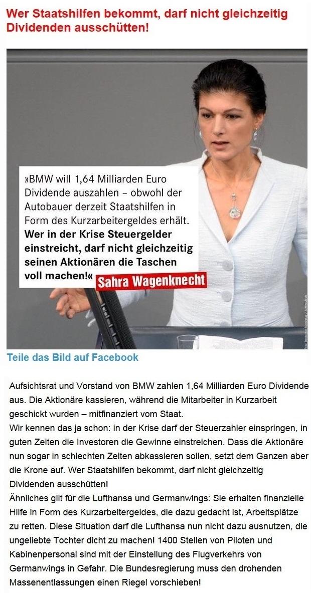 Aus dem Posteingang von Dr. Sahra Wagenknecht (MdB) - Team Sahra 09.04.2020 - Corona-Krise: Wer Staatshilfen bekommt, darf nicht gleichzeitig Dividenden ausschütten!