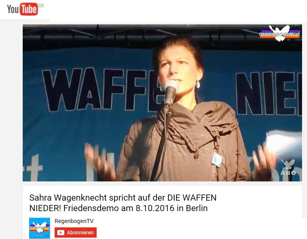 EUROPA-Friedensforum - Die Bundestagsabgeordnete Dr. Sahra Wagenknecht spricht auf der DIE WAFFEN NIEDER! Friedensdemo am 8.10.2016 in Berlin