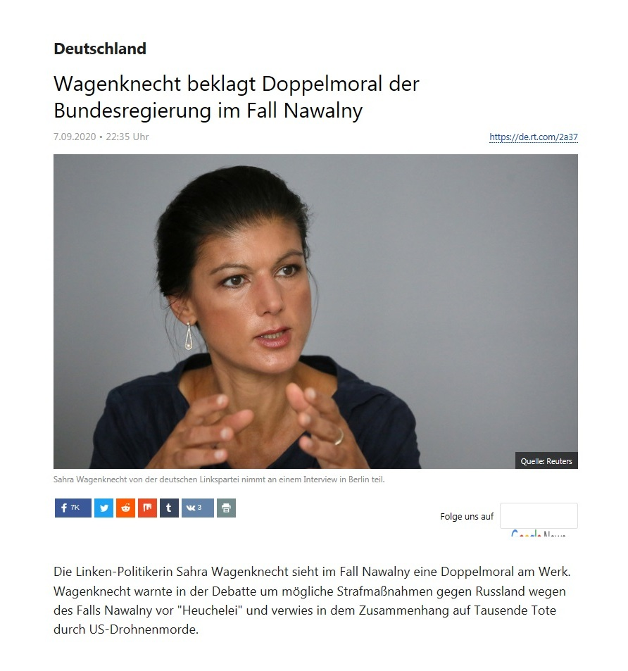 Deutschland - Wagenknecht beklagt Doppelmoral der Bundesregierung im Fall Nawalny  - RT Deutsch - 07.09.2020