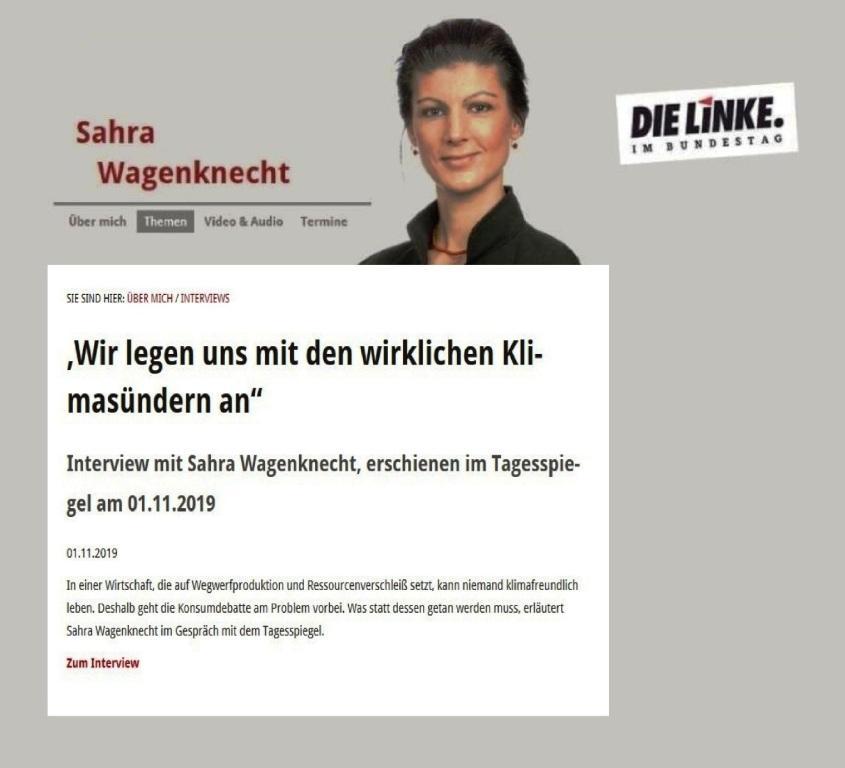 'Wir legen uns mit den wirklichen Klimasündern an' - Interview mit Sahra Wagenknecht, erschienen im Tagesspiegel am 01.11.2019