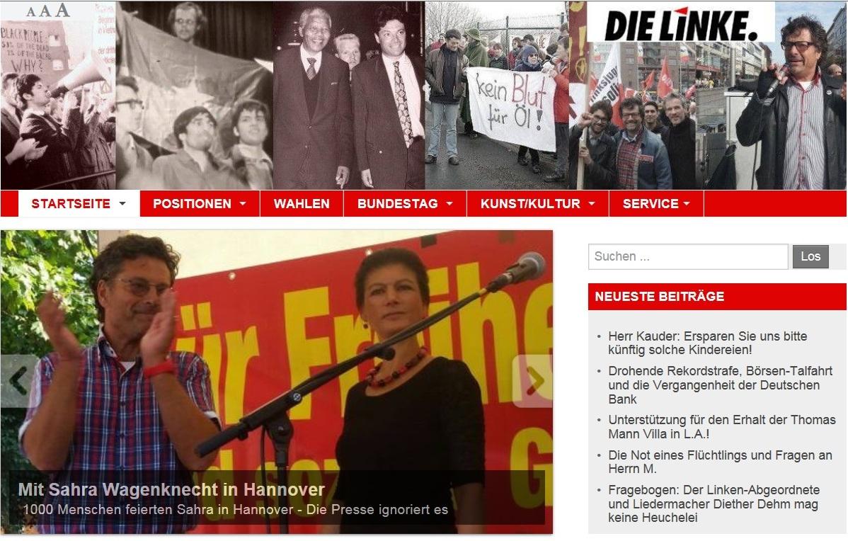 Die Bundestagsabgeordneten der Linken Dr. Sahra Wagenknecht und Dr. Diether Dehm in Hannover.