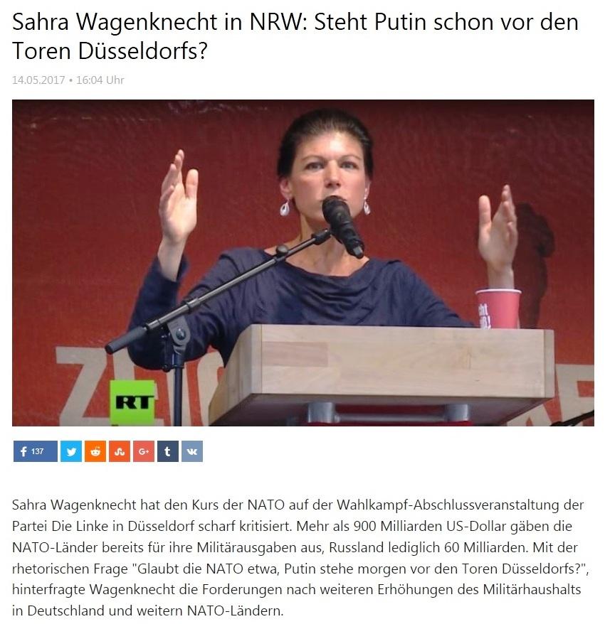 Sahra Wagenknecht in NRW: Steht Putin schon vor den Toren Düsseldorfs?