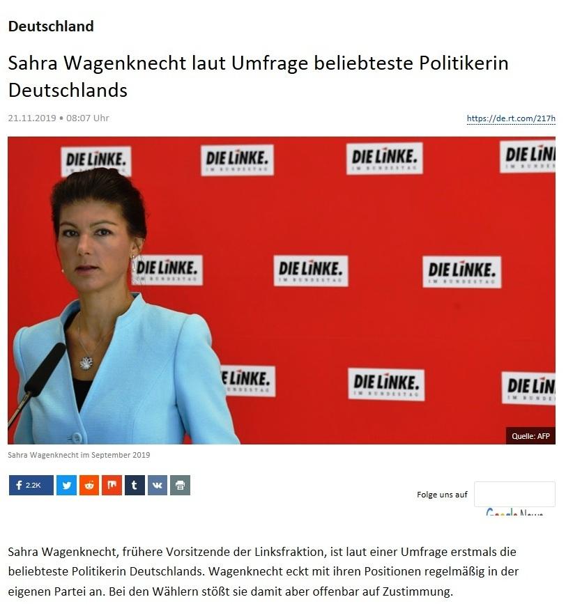 Deutschland - Sahra Wagenknecht laut Umfrage beliebteste Politikerin Deutschlands